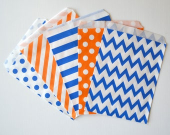 """25PK - Royal Blue & Orange 5"""" X 7"""" Treat Bags // Party Favor // Paper Bag // Wedding, Grad Party, Birthday Party Candy Bar Bags"""
