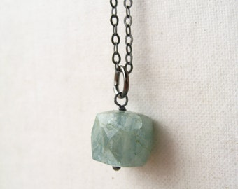 natural moss green aquamarine. rough cube gemstone. oxidized sterling silver. gypsy bohemian jewelry. made to order (iceland. necklace)
