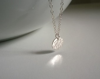 Tiny sterling silver hammered disc necklace; small silver dot necklace; silver disc necklace; simple silver necklace