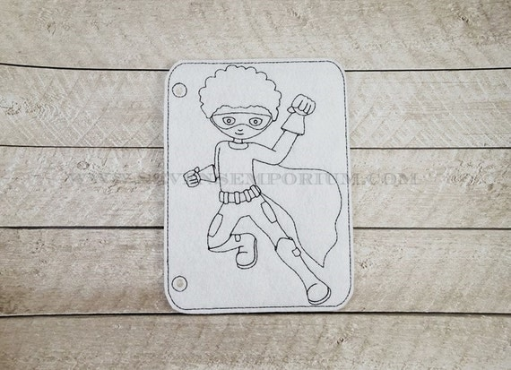 jumping superhero boy curly afro in the hoop doodle it coloring page machine embroidery design from sevensemporium on etsy studio