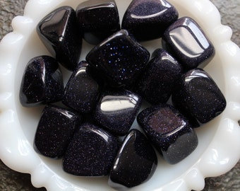 Blue Goldstone - Tumbled Stone- Medium to Large