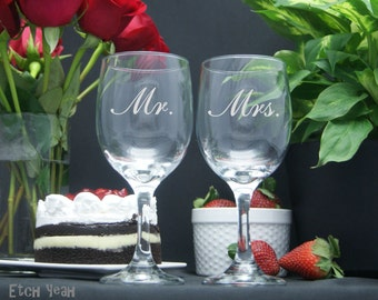 Custom Etched Mr. and Mrs. Wine Glasses / Set of 2 / Add Your Name or Date / Personalized Wedding Glasses / Anniversary Gift -  48 Fonts