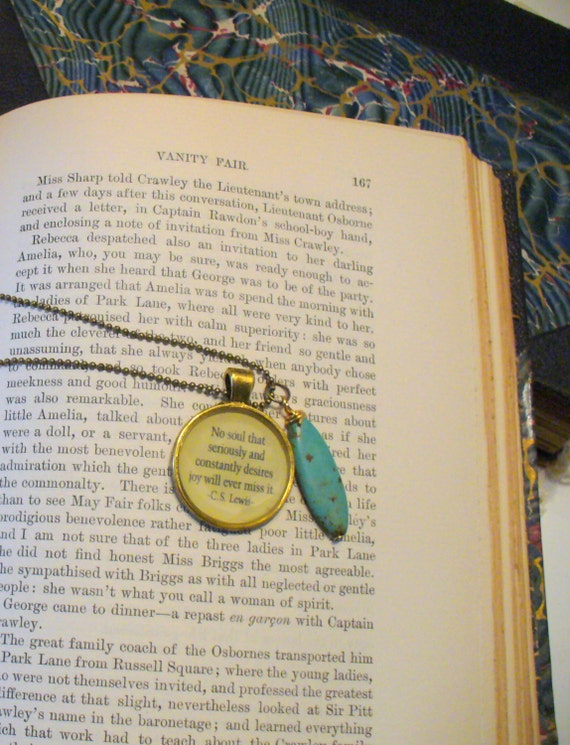 Book Nook, Book Quote Necklace, The Great Divorce Quote Necklace, C.S. Lewis Quote, Literature Quote Necklace, Quote Necklace, MarjorieMae