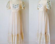 Vintage 70s 1970s Candi Jones California Boho Ladies Cream Prairie Dress Wedding Hippie Festival Summer Size 10 12 Small Medium