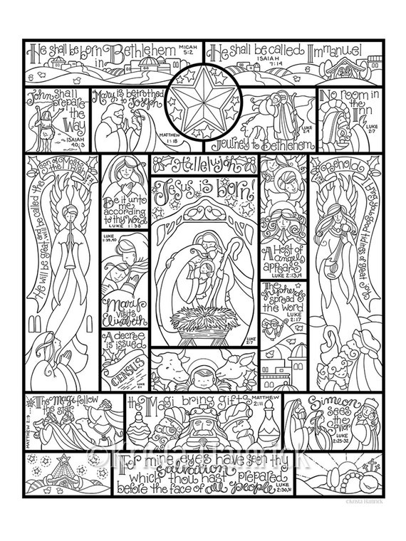 Story Of The Nativity Coloring Page In Three Sizes 8 5x11 Nativity Coloring Pages For Adults