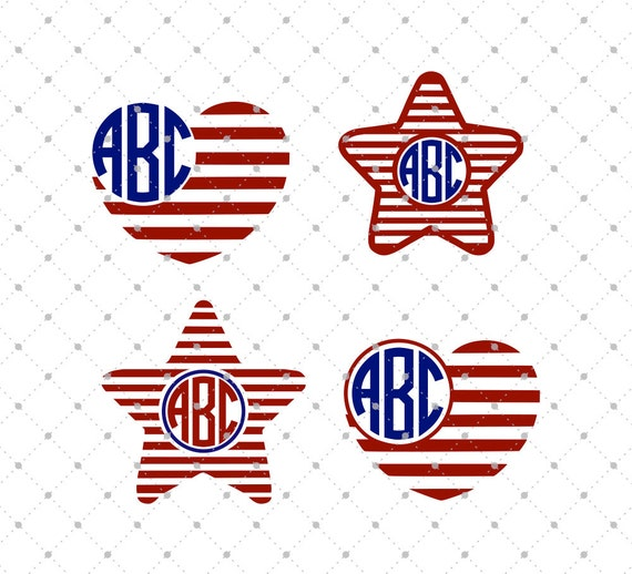 4th Of July Monogram Svg Cut Files 4th Of July Svg