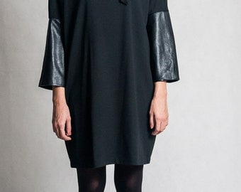Black cowl neck dress / Oversized dress with leather sleeves / Shapeless short black dress / Leather dress / Fasada 1594