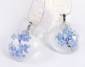 blue necklace flower terrarium jewelry girlfriend gift for friend forget me not flower necklace terrarium gift for her friendship gift Рю27