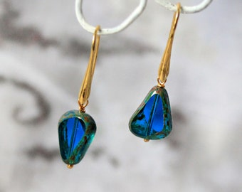 teal blue earrings geometrical jewelry gift/for/wife mix match earrings dark blue jewelry romantic gift/for/woman girlfriend gifts пя101