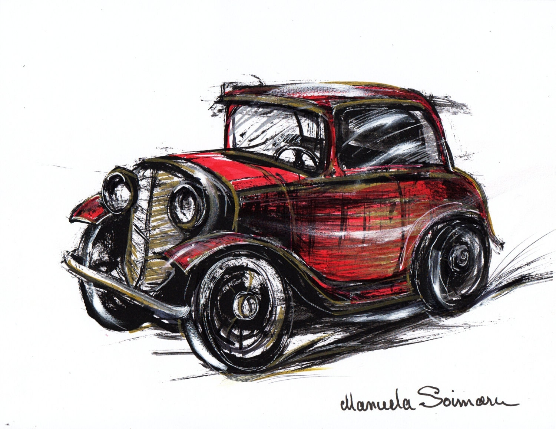 Classic car illustration drawing original art print car zoom amipublicfo Images