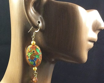Orange Cloisonne Earrings with Swarovski Crystal Dangles and Golden Crystal Pearls