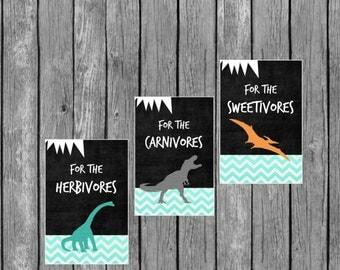 Dinosaur Party Signs - Dinosaur Food Labels - DIY Printable File