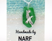 Green Sea Glass Pendant with Sea Gull Charm Necklace