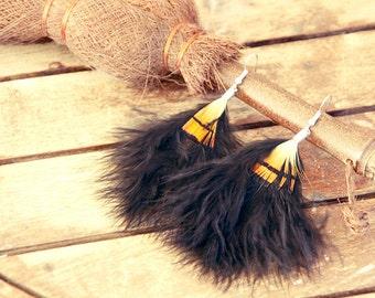 Feather earrings, Long earrings, long feather, black feather, festival earrings, bohemian earrings, hippie earrings, festival jewelry