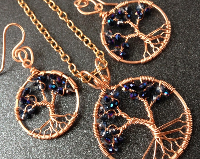 Gift for Wife Alexandrite Tree-Of-Life Jewelry Set Copper Tree of Life Wire Wrapped Crystal June Birthstone Leo 55th Anniversary Family Tree