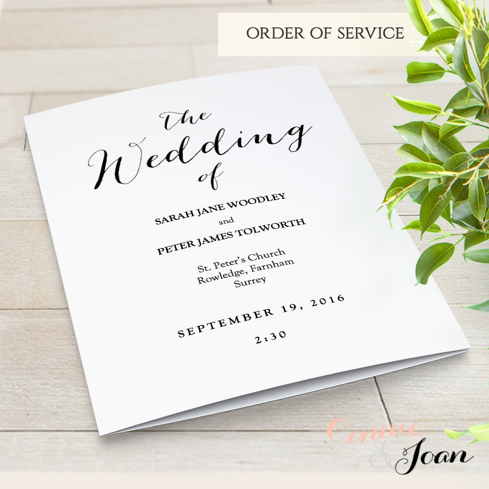 Wedding Invitation Template Instant Download Invitation Printable - Wedding invitation templates: wedding order of service template