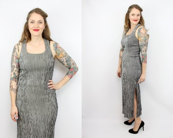 Vintage 90's Black and White Slivered Midi Dress / Criss Cross Back / Slinky / High Slit / Women's Size Large