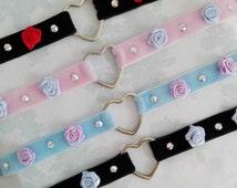 Limited Made To Order Cute Roses Princess Alternative Heart Ring Real Swarovski Crystals Kawaii Ribbon Pastel Choker