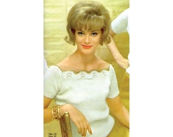 Elegant Womens Retro 60s Short Sleeve Summer Knitting Pattern with Square Neckline in Metallic Yarn