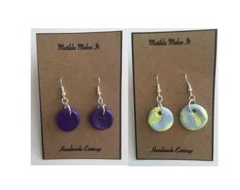 Handmade Polymer Clay Marbled Circle Round Dangle / Drop Earrings