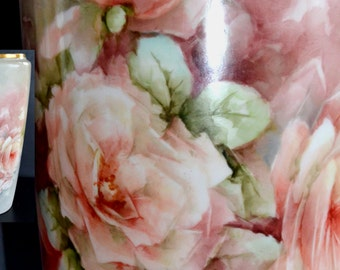 Monumental Limoges Rose Vase Bernardaud France Porcelain Hand Painted Flowers B&Co Artist Decorated