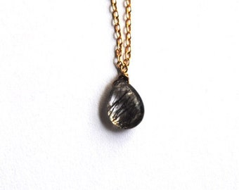 Rutilated Quartz Necklace, 14kt Gold Chain Necklace, Briolette necklace, Rutilated Quartx necklace, Briolette necklace