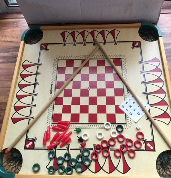 Vintage Carrom Game Board Merdel 1970 With Box