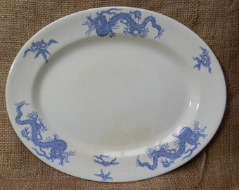 Antique English Oval Dragon Blue and White Platter / Serving Plate c1890