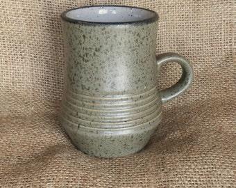 Vintage Brown / Khaki Speckled Matt Glaze Stoneware Coffee / Tea Mug