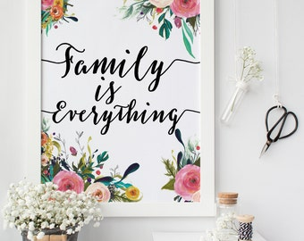 mothers day from daughter gift for mum Family is everything, family gallery wall print, family wall art floral quote inspirational quote