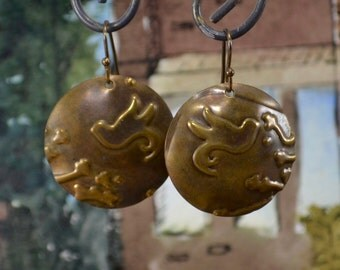 Copper earrings embossed with Vintaj bird design, lightweight and simple, go with everything