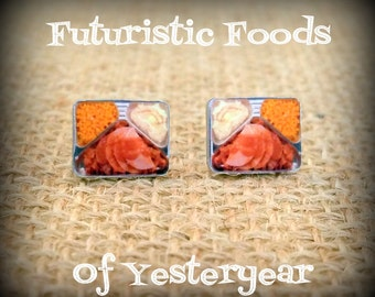 TV Dinner Earrings - TV Dinner Jewelry - Retro Earrings - Food Earrings - Vintage Art - Space Age Food - Yesteryear - Printed Plastic Studs