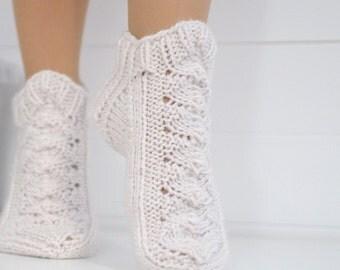 Knit slipper socks natural white - 100% wool slippers - Woolen socks hand knitted