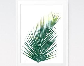 Watercolour Palm Leaf, Palm Print, Green Leaf Print, Palm Leaves, Palm Leaf Art, Water Color Painting, Large Wall Art, Leaf Printables
