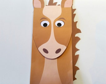 Horse Paper Bag Puppet - FULL COLOR - Downloadable PDF - Kid's Craft