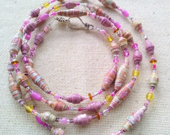 Paper bead jewelry  paper bead necklace  pink bead necklace  long necklace  hand rolled beads  rose paper beads  handmade bead necklace