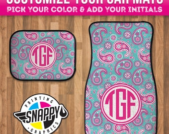 Paisley Monogram Car Mats - Personalized Gift - High Quality Dye Sublimation Printed - Durgan Rubber Bottom - Black Finished Edges
