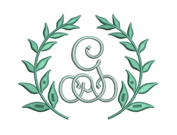 Leaf monogram frame design border style embroidery