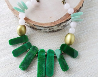 8153JN - SALE - High Sunrise Necklace, ooak, ooak necklace, pink and green, gemstone jewelry, bold necklace, statement necklace, aka