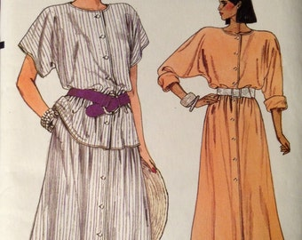 Vogue 9208 - 1980s Round Collar Button Front Dress with Bat Wing Sleeves - Size 12 14 16
