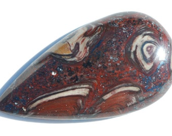 Hematite and Fossilized Shell Cabochon, Red, Black, Brown, Teardrop Shape, 36.5 x 19 mm