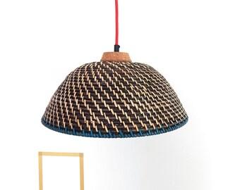 Woven bamboo pendant light