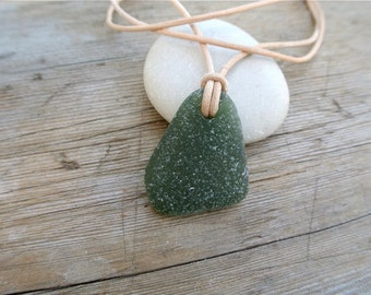 Green Sea Glass Necklace, Mens Leather Necklace, Unisex Necklace, Surf Necklace, Adjustable Necklace, Sea Glass Jewelry, Chokers