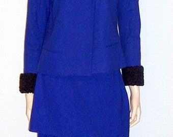 Custom-Made Women's Cobalt Blue Suit Trimmed in Black Persian Lamb