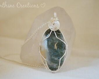 Wire Wrapped Ocean Jasper Crystal Pendant