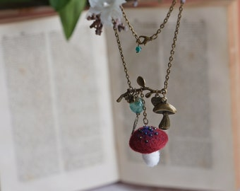 Woodland fairy burgundy mushroom necklace. Needle felted pendant inspired by nature and fairytales.