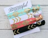 Aztec Hair Tie Set - Elastic Hair Ties - Hair Tie Bracelet - Creasless Ties - Boho Accessories - Gifts for Her - Scrunchie- Hair Accessories