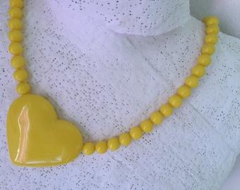 1980's Les Nereides Big Yellow Heart plastic Necklace. Excellent condition