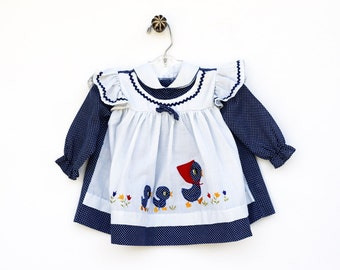 1960s Blue Baby Girl Dress, Flowers and Ducks Baby Dress, Baby Clothes, 12 Months