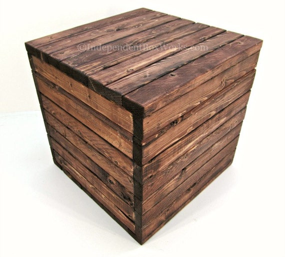 made to order 12 inch storage cube rustic wooden crate with. Black Bedroom Furniture Sets. Home Design Ideas
